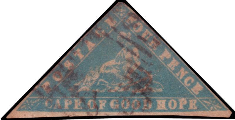 """Lotto 2091 CAPE OF GOOD HOPE 1861 """"Woodblock"""". 4d. pale milky blue Provenienza: Collezione Romano Padovan Valutazione € 100 - 150"""