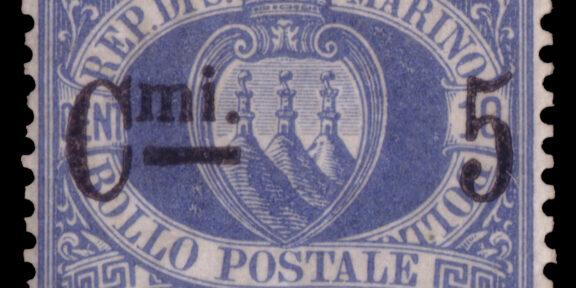"""Lotto 2457 SAN MARINO 1892 """"Stemma"""". 5c./10c. oltremare Cert. En. Diena, A. E. Fiecchi Valutazione € 10.000 - 15.000"""