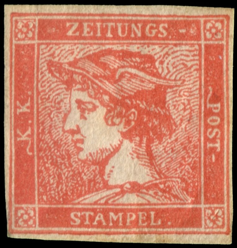 """Lotto 2468 AUSTRIA/LOMBARDO-VENETO 1856 Giornali """"Mercurio"""". (30c.) rosso vermiglio, il """"Mercurio Rosso"""" (Zinnoberroter Merkur) è uno dei francobolli più rari e ricercati di tutta la filatelia classica mondiale. Cert. A. Diena, G. Bottacchi, Behr, U. Ferchenbauer. Firma R. Mondolfo. Valutazione € 35.000 - 40.000"""