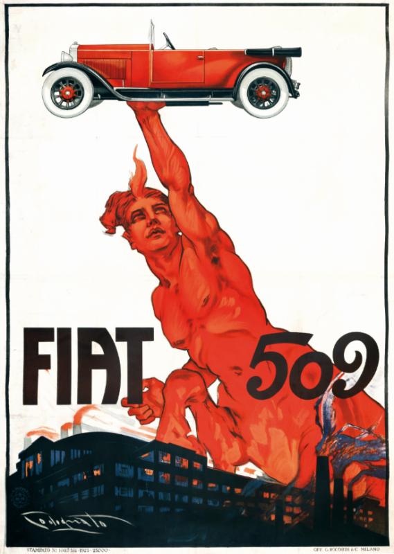 Plinio Codognato ( 1878- 1940), FIAT 509, Affisso originale, 1925. Litografia, Imp. Ricordi, Milano. Cm 137x99. Stima: 4.500 - 7.000 euro