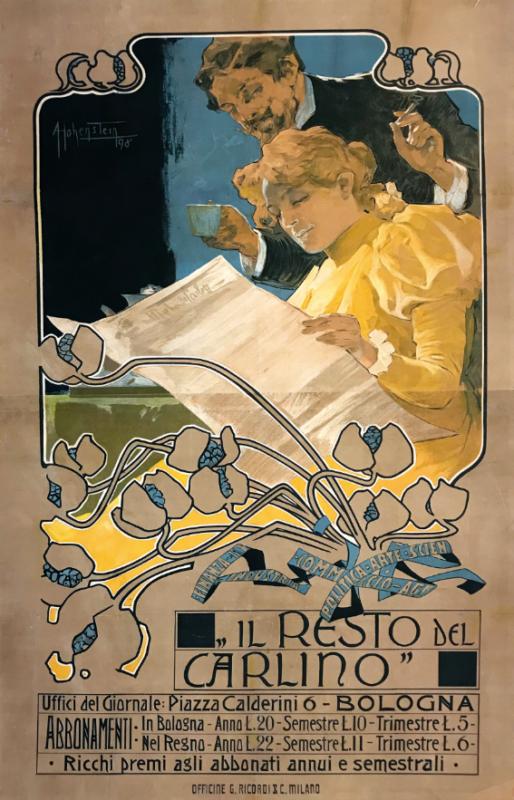 Adolf Hohenstein (1856-1928), IL RESTO DEL CARLINO... BOLOGNA, Affisso originale, 1898. Litografia, F.lli Ricordi, Milano. Cm 146x91. Stima: 4.000 - 7.000 euro