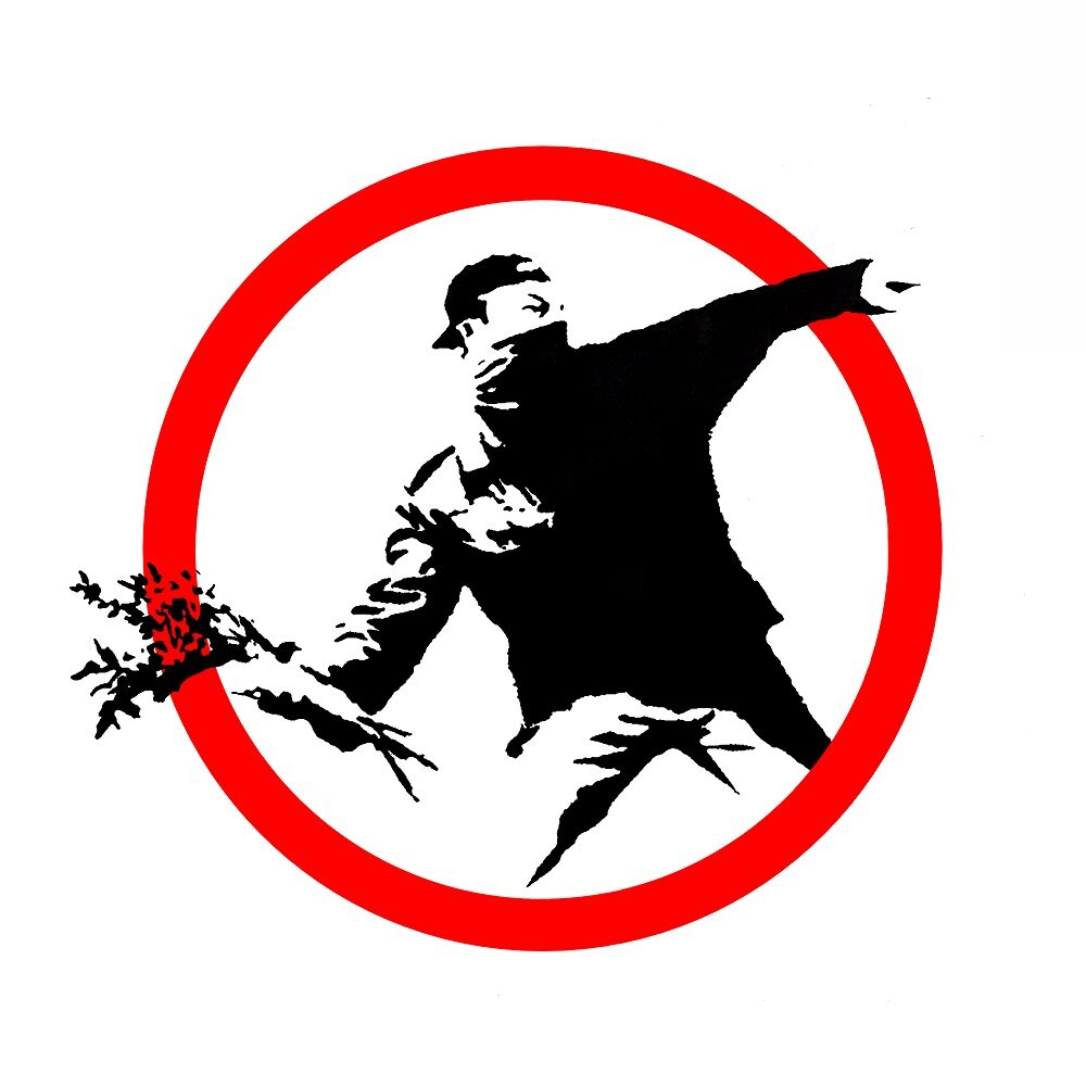 mostra roma banksy WWW. CHIOSTRODELBRAMANTE.IT 1 - Keep Left , XL Sticker, 2004 Private Collectio