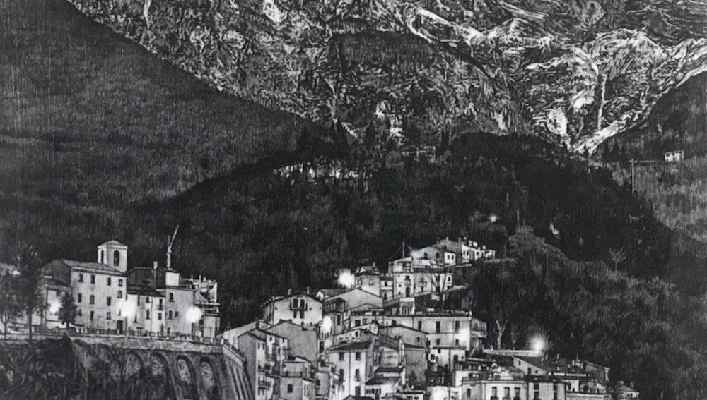 Particolare del disegno di Giuseppe Stampone esposto a Bologna