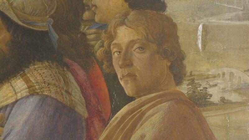 Presunto autoritratto di Sandro Botticelli in un dettaglio della sua Adorazione dei Magi, Galleria degli Uffizi, Firenze