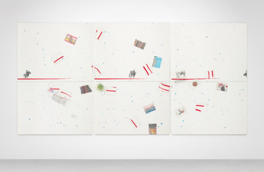 Lot 125 - Alighiero Boetti, Senza titolo (...un Buskashi in Afghanistan…), 1989 ca., H149 x L301.5 cm. tecnica mista su carta. Stima 150.000-180.000 €