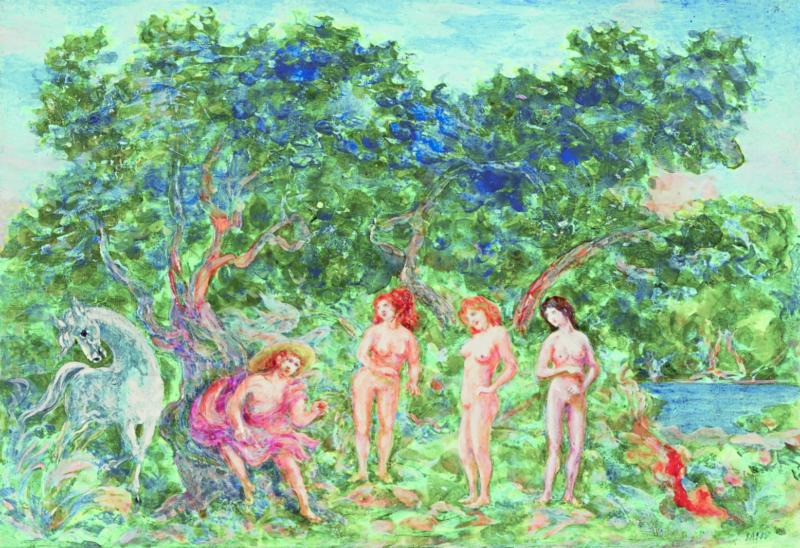 Lot 59 - Aligi Sassu, Il giudizio di Paride, 1983, acrilico su tavola, stima 6.000-8.000 €