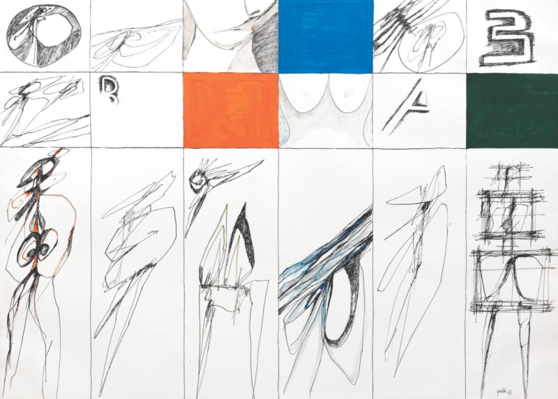 Lot 67 - Achille Perilli, Senza titolo, 1965, tempera e inchiostro su cartoncino. Stima 10.000-12.000 €