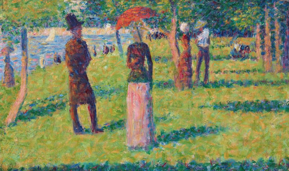 Georges Seurat, Paysage et personnages (La jupe rose), 1884. CHRISTIE'S