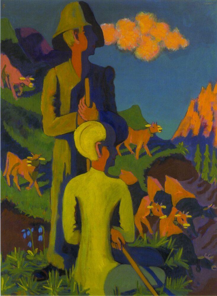 Ernst Ludwig Kirchner Hirten am Abend (E. L. Kirchner und Erna), 1937 [Pastori di sera (E. L. Kirchner ed Erna)] Olio su tela 120 x 90 cm Courtesy Galerie Henze & Ketterer, Wichtrach/Berna