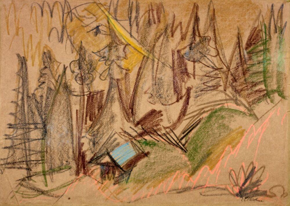 Ernst Ludwig Kirchner Bergwald III (Waldtal, Waldlandschaft mit Alphütte), ca. 1918 Bosco di montagna III (Valle con bosco, Paesaggio boschivo con baita) Gessetti colorati su carta verde 50 x 69.8 cm Courtesy Galerie Henze & Ketterer, Wichtrach/Berna