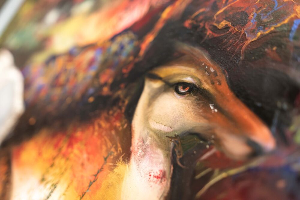 Chiara Calore, Eden #1 (det.), 2021, pigment, oil, tempera and spray on canvas, 180 x 296 cm, ph. Studio Mion