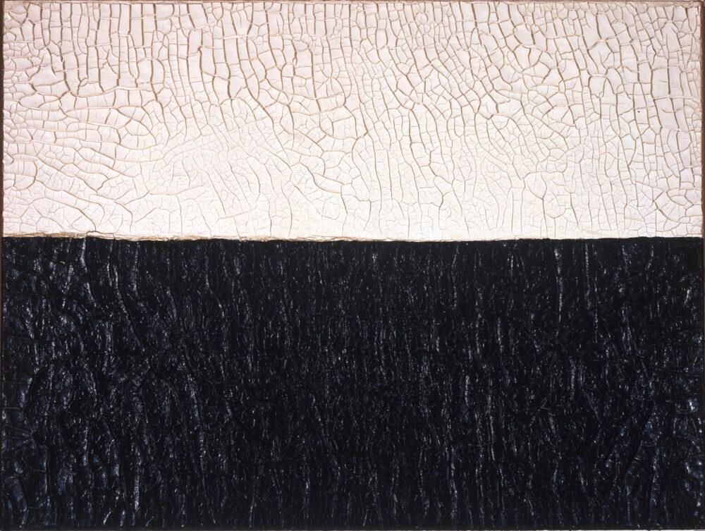 Alberto Burri, Bianco Nero Cretto, 1972, Acrovinilico su cellotez, 76,5 x 101,5 cm