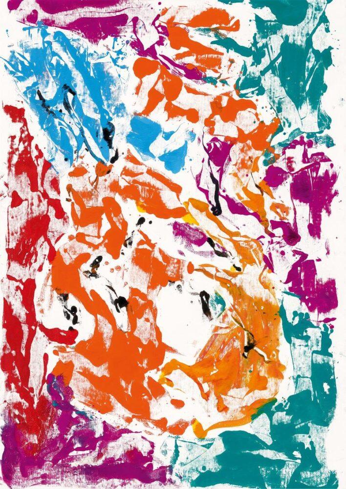 Georg Baselitz, Archinto lacht (Archinto ride), 2020. Olio su tela, 233 × 163 cm. ©Georg Baselitz 2021. Foto: Jochen Littkemann, Berlino. Courtesy Gagosian.
