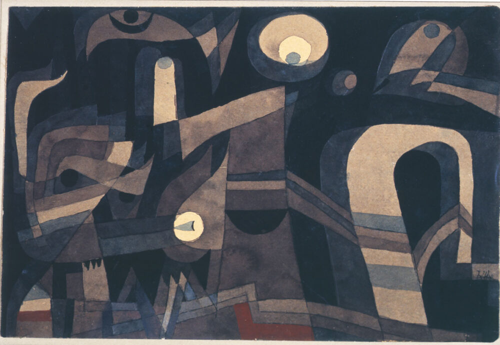 Paul Klee, at night, 1921, matita, penna, acquarello su carta