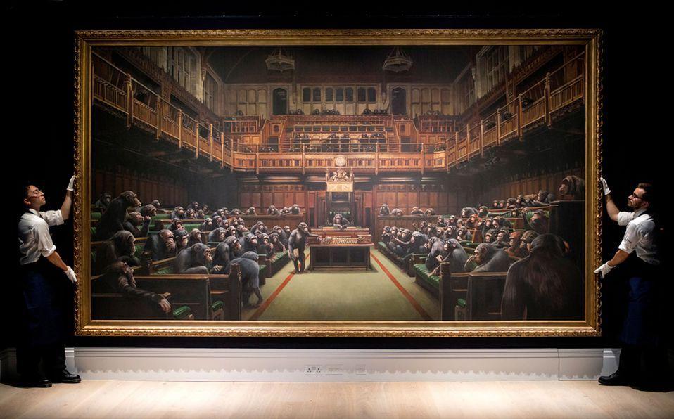 Banksy, Devolved Parliament,. Venduto da Sotheby's Londra per 13,5 milioni di dollari nel 2019