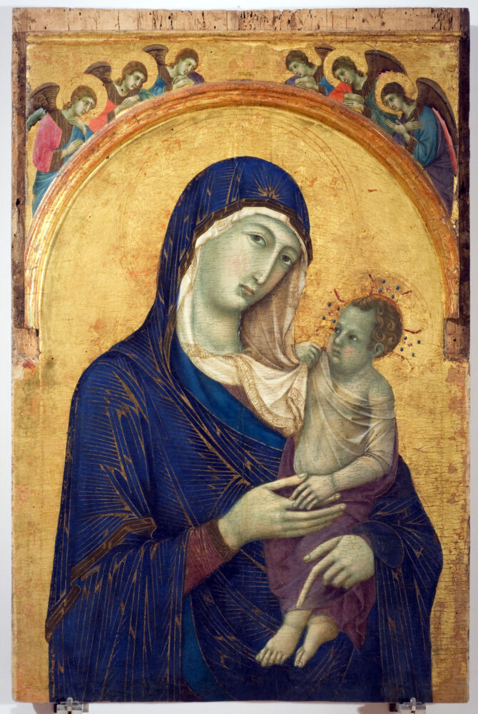 Duccio di Buoninsegna, Madonna col Bambino e sei angeli, 1300-1310