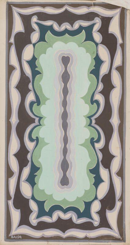 Lotto 90 - Giacolo Balla, Motivo per tappeto con stilizzazione di mare, 1919 ca., tempera su carta applicata su tela, cm. 84 x 46. Stima 20.000-25.000 €