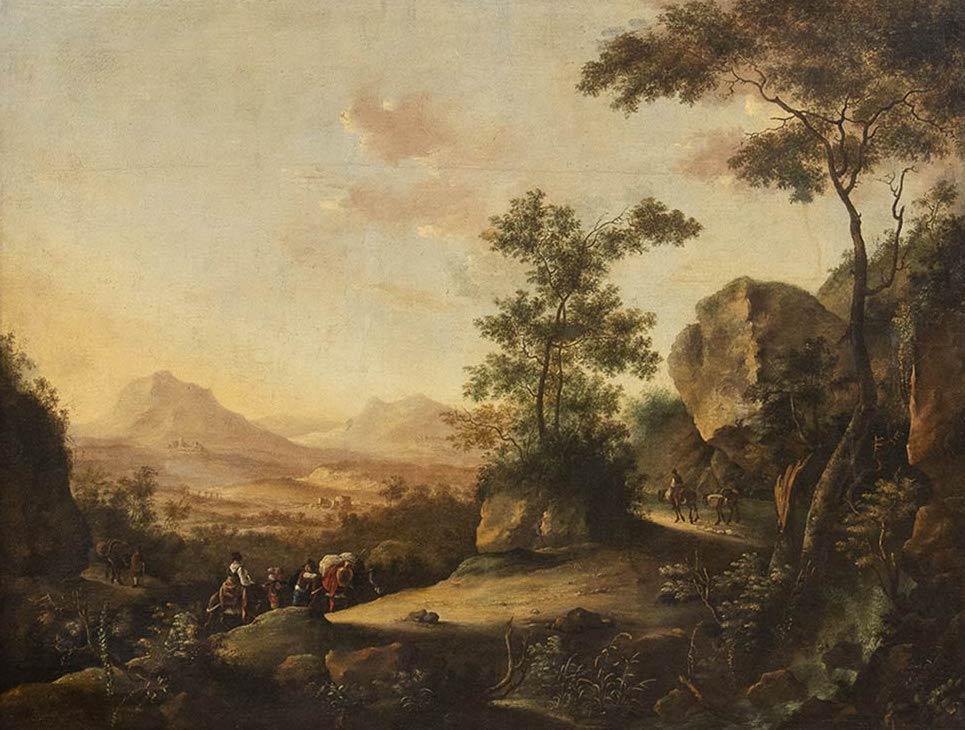 JAN FRANS (E PIETER?) VAN BLOEMEN, DETTO L'ORIZZONTE (Anversa, 1662 - Roma, 1749) Paesaggio con viandanti che attraversano un bosco Olio su tela, 130x171,5 cm Stima € 22.000-26.000 Lotto 153