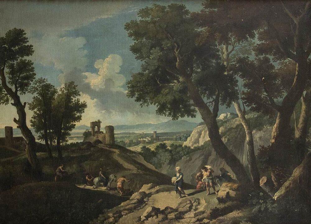 ANDREA LOCATELLI (Roma, 1695 - 1741) Paesaggio laziale con pastori e castello diroccato Olio su tela, 100x120 cm Stima € 14.000-18.000 Lotto 155