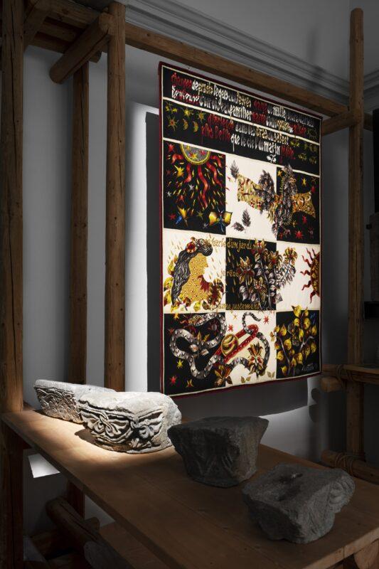 Jean Lurçat (1892-1966) Je parle d'un jardin Carton de 1965, tissage Picaud, Aubusson, 1969 Cotone, Lana 2,42 x 1,80 m Donation Simone Lurçat, 1988 © Cliché musées d'Angers