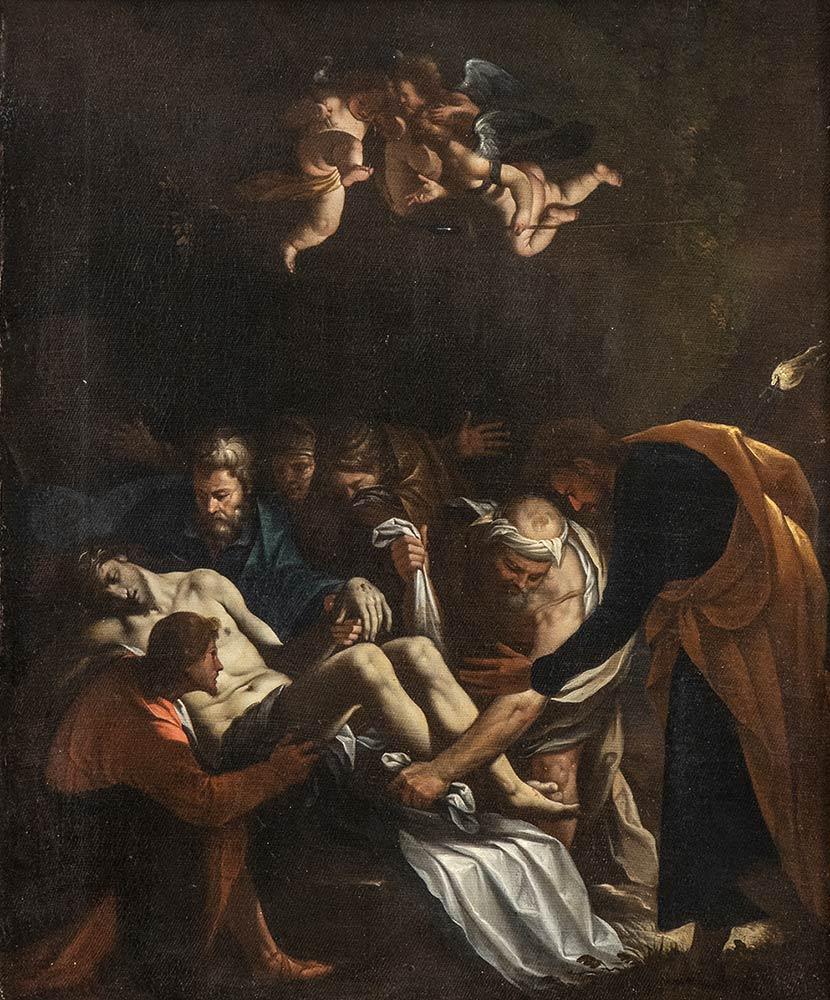 PASQUALE OTTINO (Verona, 1578 - 1630) Deposizione di Cristo nel sepolcro Olio su tela, 49x40 cm Stima € 15.000-20.000 Lotto 146