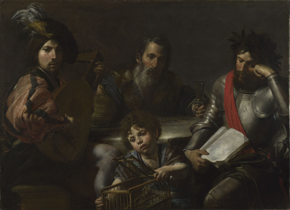 Valentin de Boulogne (Coulommiers, 1591 – Roma, 1632), Le quattro età dell'uomo, 1629 circa, olio su tela, 96,5 x 134 cm, © The National Gallery, Londra. Presented by the 2nd Viscount Bearsted through the Art Fund, 1938