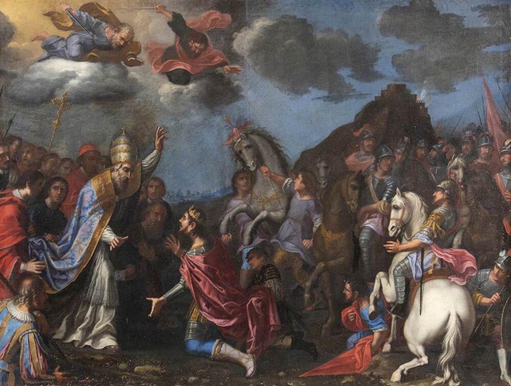 ARTISTA ATTIVO NELL'ITALIA MERIDIONALE TERZO QUARTO DEL XVII SECOLO Incontro di San Leone Magno e Attila Olio su tela, 158x210 cm Stima € 15.000-20.000 Lotto 149