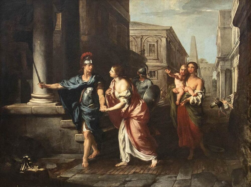 FRANCESCO FERNANDI, DETTO L'IMPERIALI (Milano, 1679 - Roma, 1740) Il commiato di Ettore da Andromaca Olio su tela, 147x197 cm Stima € 15.000-20.000 Lotto 157