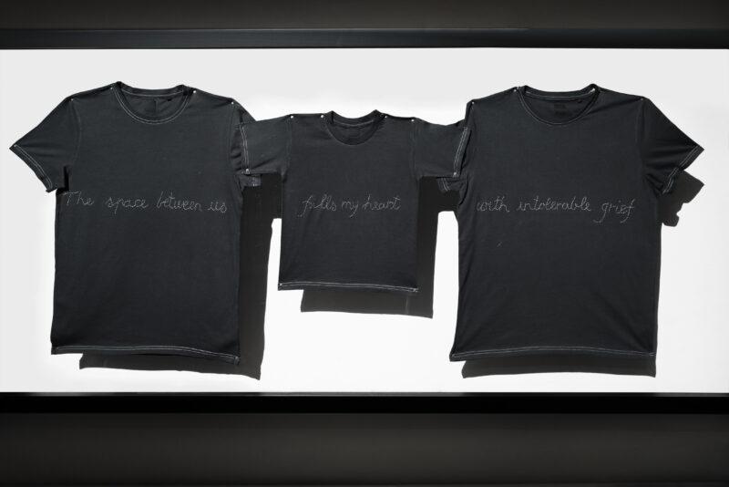 Ottonella Mocellin e Nicola Pellegrini Mope 110 Particelle famigliari, 2014 T-shirt ricamata, viti di bronzo, plexiglass 90 × 200 cm Courtesy Lia Rumma