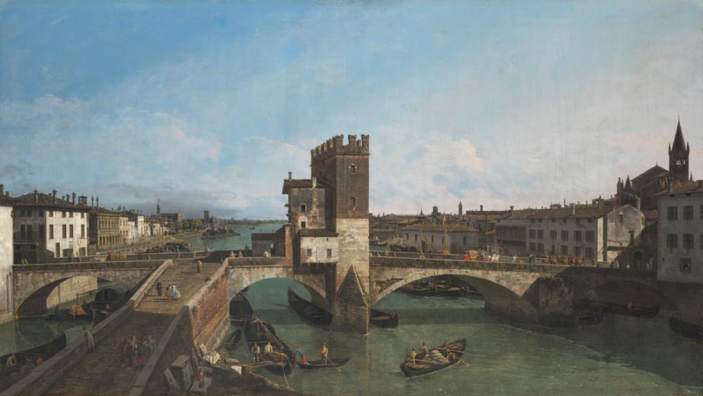 Bernardo Bellotto, Veduta di Verona con il Ponte delle Navi, ca. 1745-47