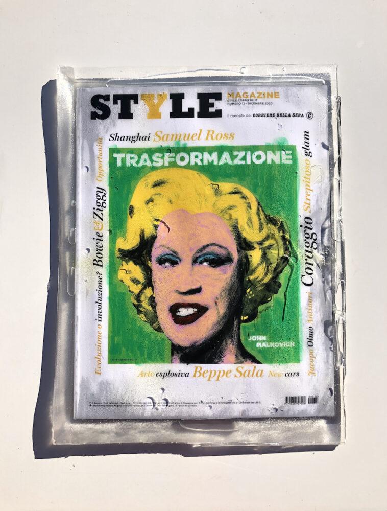 Carlo Marcuccy, Being John Malkovich, Dicembre 2020. Style Magazine n.12, Pastelli a olio su rivista in resina epossidica, 25x33x1cm. Courtesy l'artista