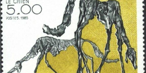 Il Cane di Giacometti su un francobollo di Francia