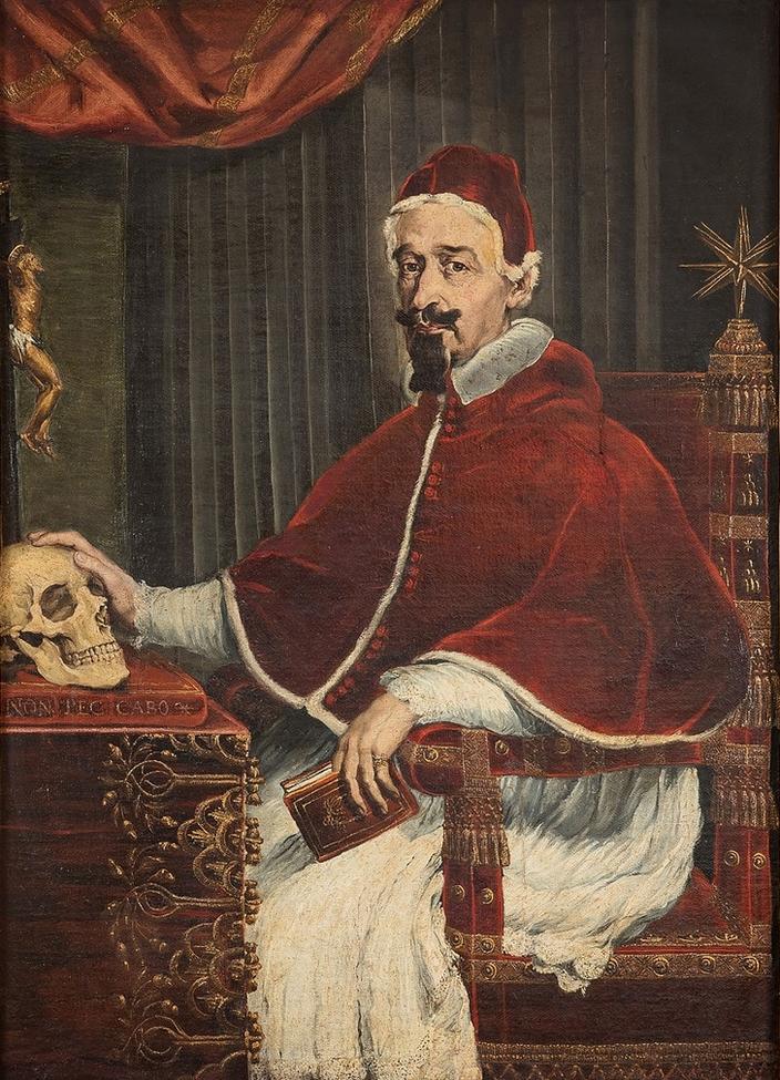 Guido Ubaldo Abbatini, Papa Alessandro VII con teschio del Bernini, 1655-56 © Collezione d'arte del Sovrano Ordine di Malta, Roma (foto Nicusor Floroaica)