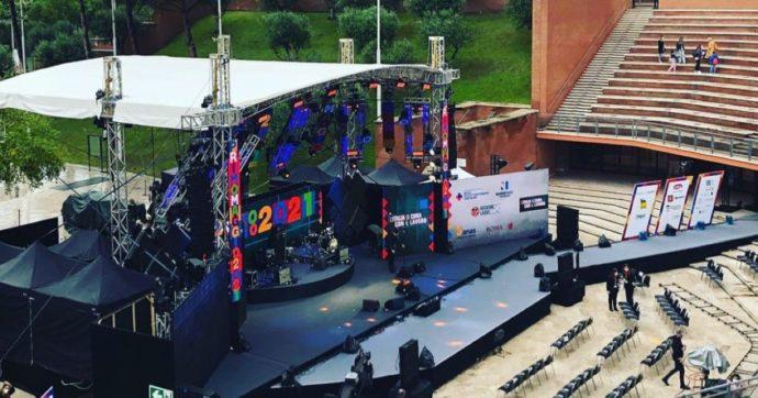 Il palco all'aperto del concerto del Primo Maggio 2021, all'Auditorium di Roma