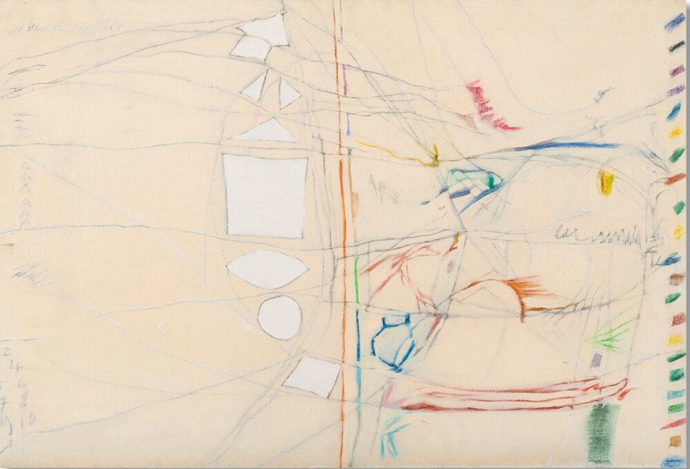 """GASTONE NOVELLI, """"Munkar e Nakir"""" 1963, olio e tecnica mista su tela, cm 65,5x100,5. Firmato, titolato e datato 63 al retro. Provenienza Galerie Thomas, Monaco, Collezione privata, Merano. Valutazione € 35.000 - 50.000"""
