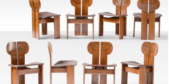 Afra e Tobia Scarpa Otto sedie mod. Africa della serie Artona con struttura in legno di noce massello e sedile in compensato curvato rivestito in pelle. Prod. Maxalto, Italia, 1970 ca. cm 57x45x78 Stima: 6.000 - 8.000 euro Venduto a: 34.000 eur