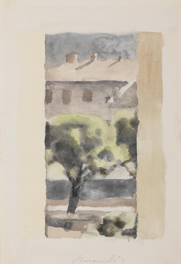 Lotto 560, Giorgio Morandi, Cortile di via Fondazza, 1959, acquarello su carta, cm 30,8x21 Stima: 35.000/55.000 euro