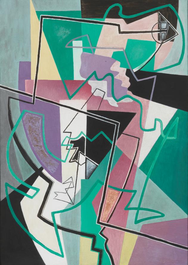 Lotto 541, Gino Severini, Danseuse et Polichinelle 2 (Deliciae Populi), 1951, Olio e tecnica mista su tela, cm. 116 x 80,3. Stima: 200.000/300.000 euro