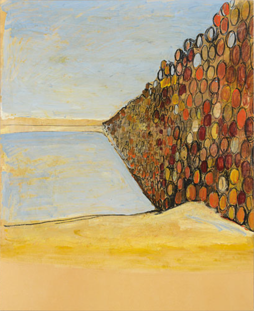 CHRISTO Oil barrels project, 1967 vernice a smalto, carboncino, matita, pastello e acquerello su cartone 70x55,5 cm, firma e anno in basso a destra, etichetta della Kulicke Gallery (New York) al retro, dichiarazione d'autenticità dell'artista su foto, entro teca in plexiglass. Provenienze: John Murchison, Addison, Texas (USA) e John Gibson Galerie, New York (USA). Base d'asta 120.000 €