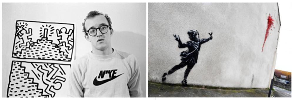 Keith Haring con i suoi lavori, e un'opera di Banksy