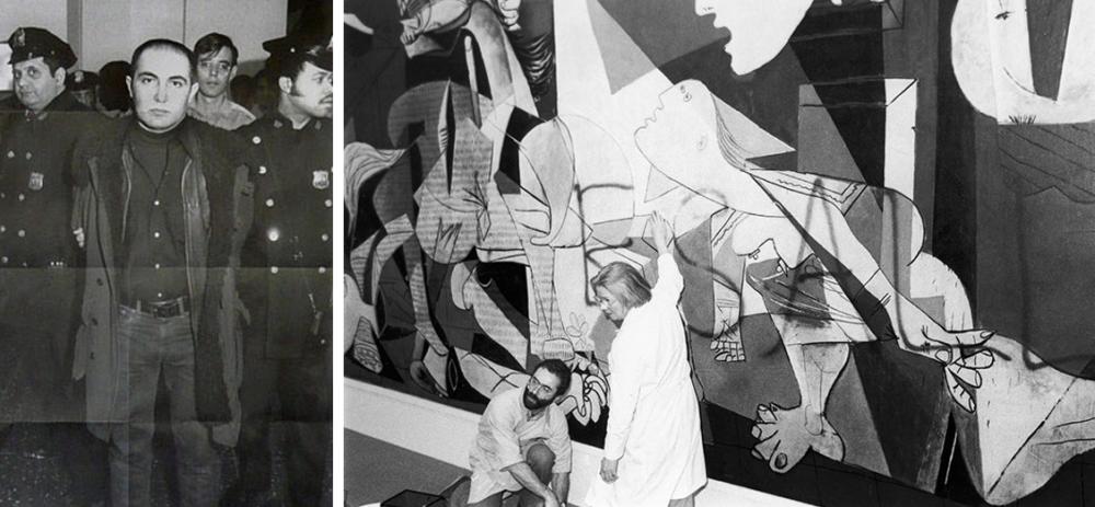 L'arresto di Shafrazi e la cancellazione della sua scritta da Guernica