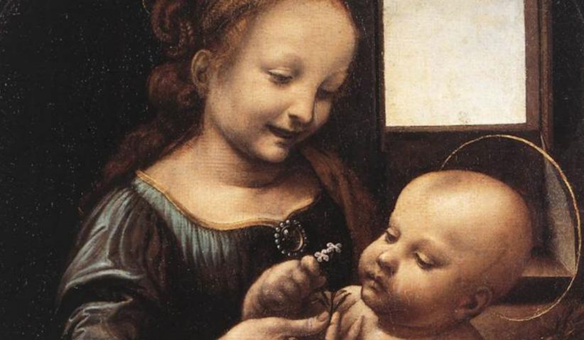 Particolare della Madonna Benois, di Leonardo