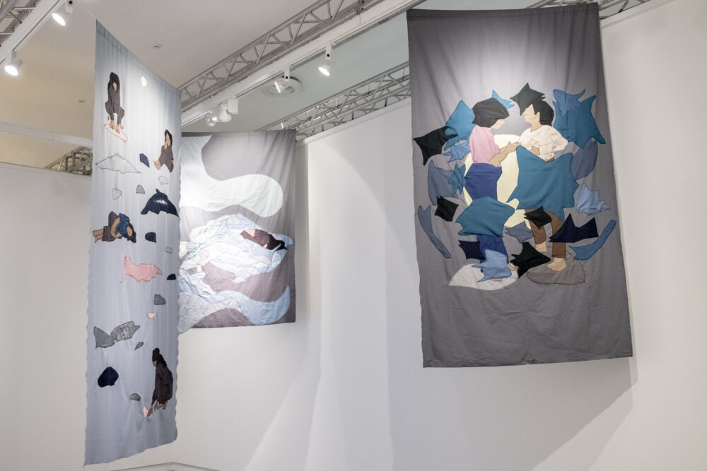 Sophie Utikal I thought we had more time (Remember) , 150 x 218 cm, textile (2021) Courtesy of: Sophie Utikal I thought we had more time (Grief) , 150 x 312 cm, textile (2021) Courtesy of: Sophi e Utikal I thought we had more time (Change) , 148 x 260 cm, textile (2021) Courtesy of: Sophie Utikal Palazzo Gregotti, SUMS, San Marino