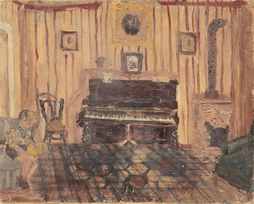 Titina Maselli, Pianoforte con ragazzo (Citto), Pescolanciano 1936, oil on board, 36x44 cm, Courtesy Collection Brai Maselli and Eduardo Secci Firenze