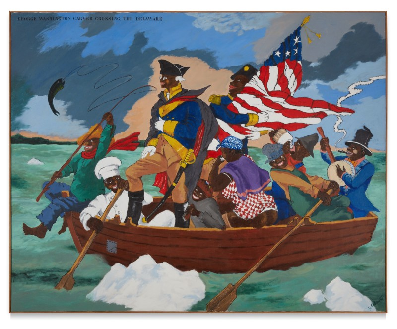 George Washington Carver Crossing the Delaware: Page from an American History Textbookdi Robert Colescott