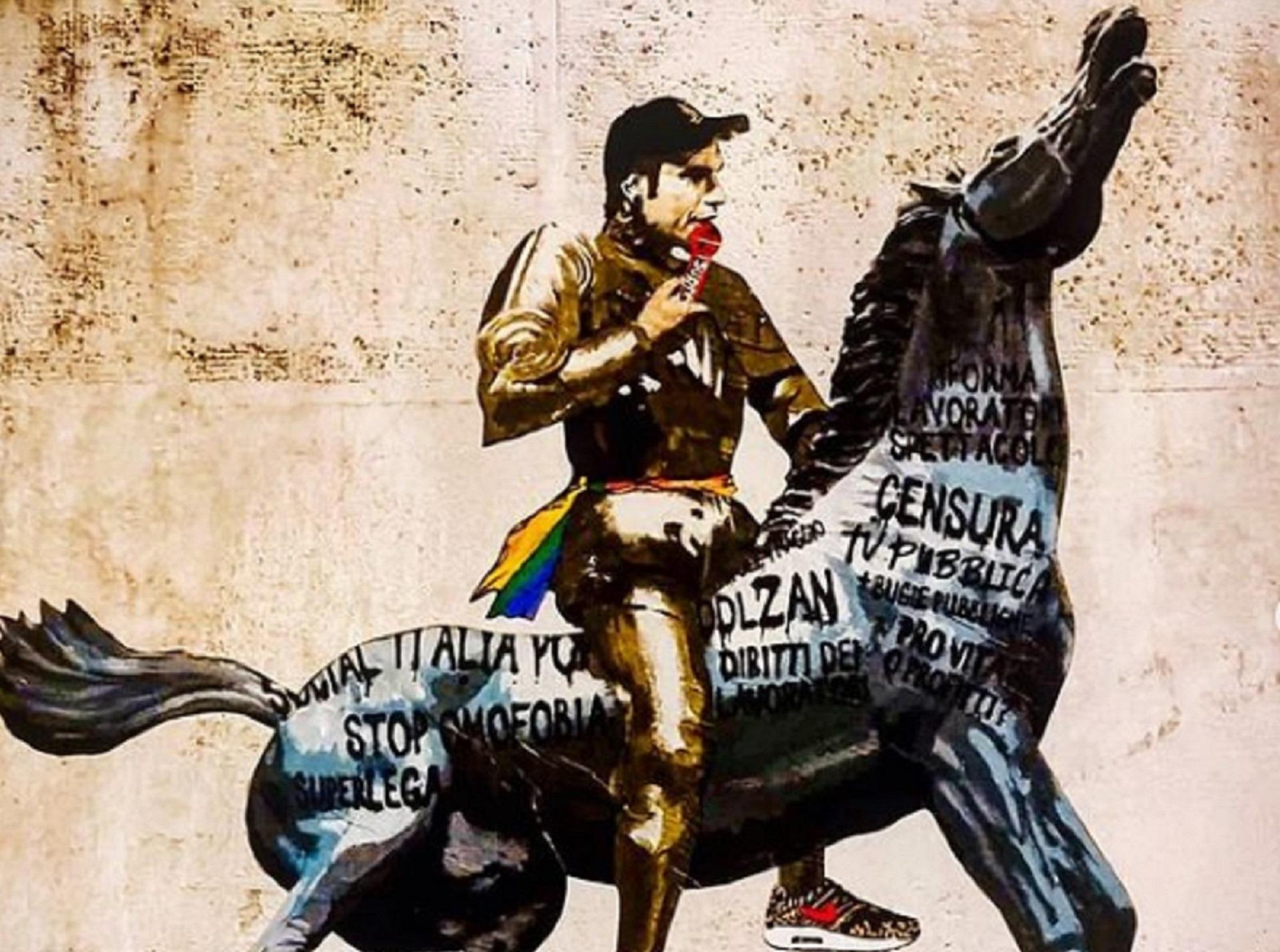 Fedez vs. Rai. Ecco il murale apparso a Roma vicino la sede della tv