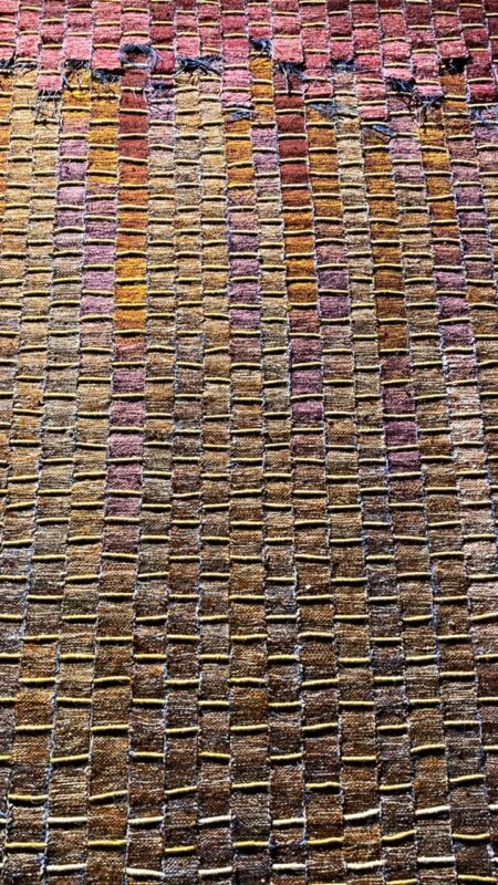 Splendido dettaglio dell'opera di Olga de Amaral Paisaje de Calicanto, 1981 Crine di cavallo, lana, cotone