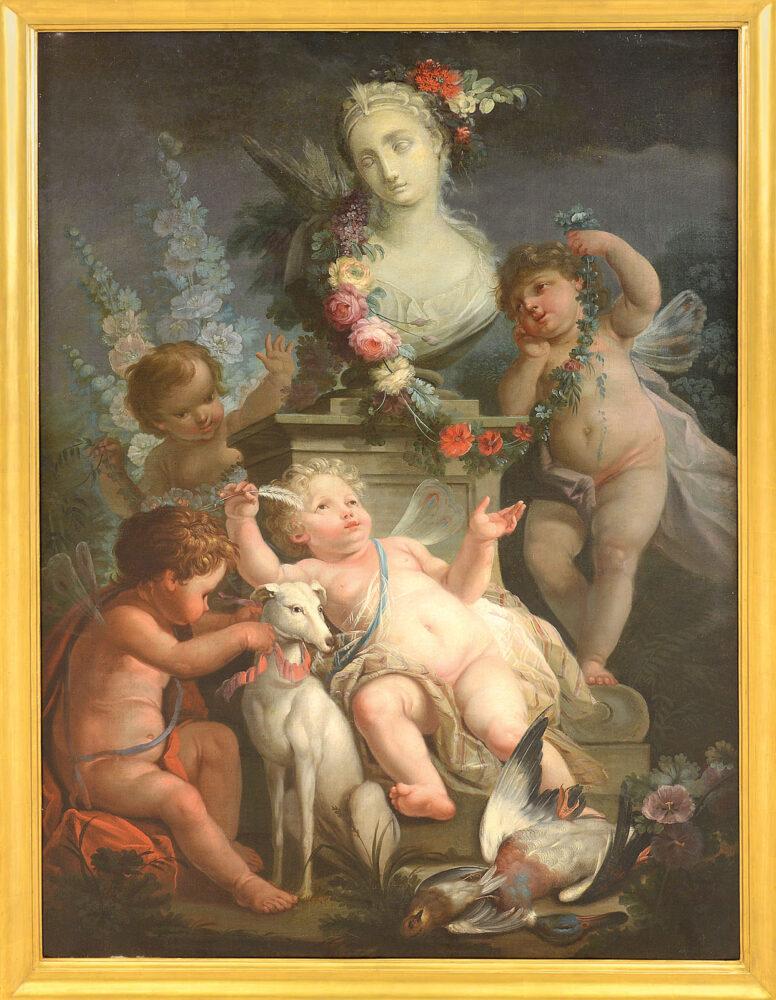 ANGELO VACCA [Torino 1746 - Torino 1814] Putti allegorici con levriero, festoni di fiori e busto femminile Olio su tela, 157x112 cm Il dipinto è uno squisito capolavoro del pittore piemontese Angelo Vacca senior.