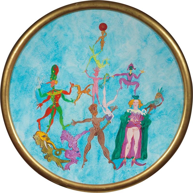 Lotto 454, Luigi Ontani, 13 mascherine senza rime, 2000, acquerello su carta, cm. 98 ø (con cornice). Stima: 38.000/48.000 euro