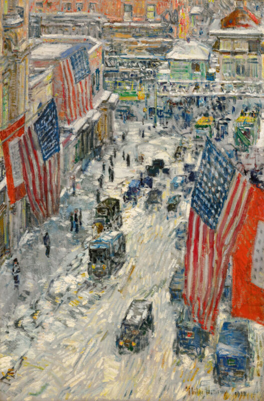 Childe Hassam Flags on 57th Street, Winter 1918